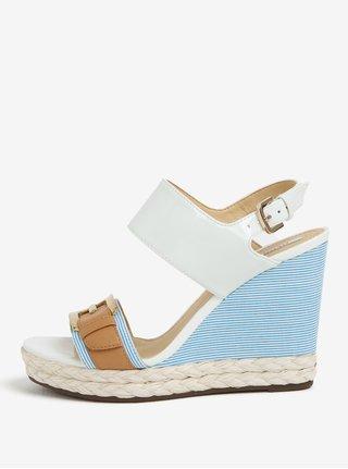 57902e919c8b Krémovo-modré vzorované sandály na klínu Geox Janira