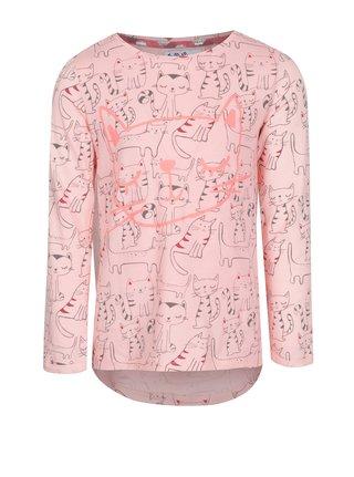 Růžové holčičí tričko s dlouhým rukávem a potiskem 5.10.15.