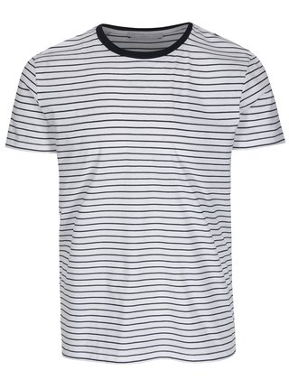 Tricou alb in dungi Selected Homme Max