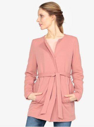 Růžový kabát s páskem VERO MODA Mira