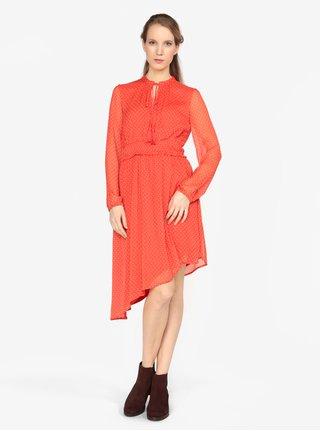 542216b069f Červené asymetrické šaty s dlouhým rukávem VERO MODA Lotta