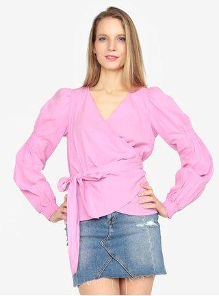 Bluza roz cu decolteu suprapus - VERO MODA Silja