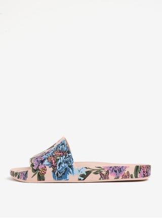 Světle růžové květované pantofle Melissa Beach Slide