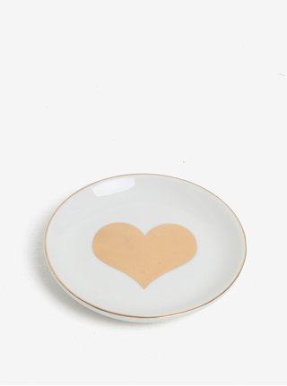 Krémový tanierik na šperky s potlačou v zlatej farbe CGB Heart