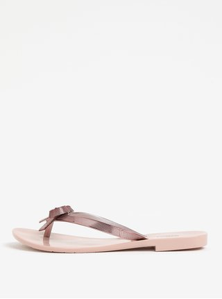 Papuci flip-flop roz cu funda si aspect metalic Melissa Harmonic Chrome