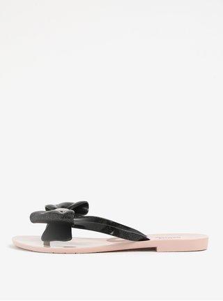 Papuci flip flop negri cu funda si aspect stralucitor - Melissa Harmonic