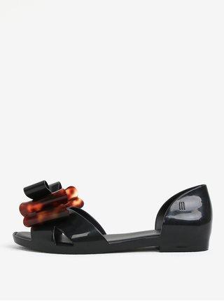 Čierne sandále s hnedou mašľou na špičke Melissa Seduction