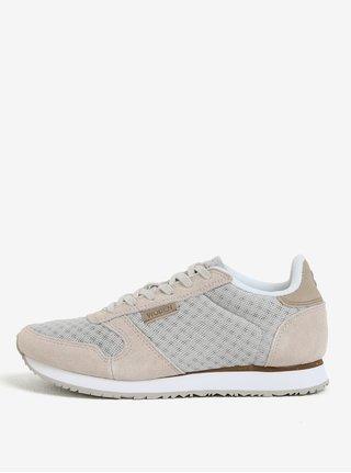 Pantofi sport bej cu detalii din piele intoarsa pentru femei Woden Ydun Suede Mesh