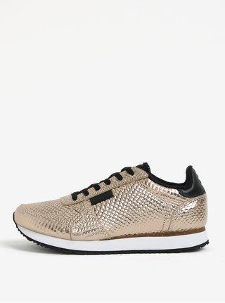 Pantofi sport aurii cu model din piele pentru femei Woden Ydun Metallic