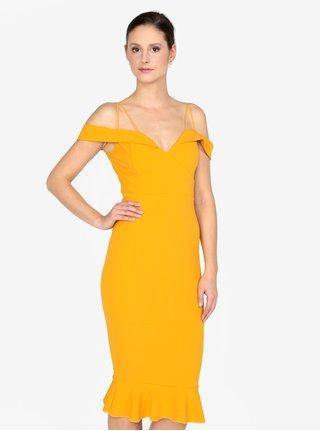 Horčicové puzdrové šaty s odhalenými ramenami AX Paris