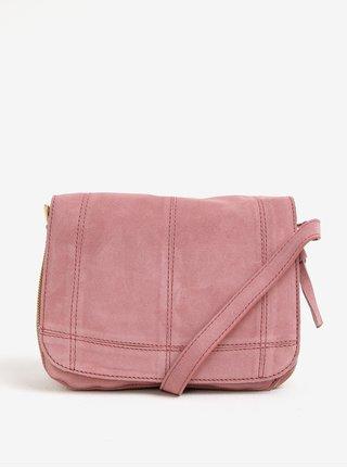 Geanta crossbody roz din piele intoarsa - Pieces Leana
