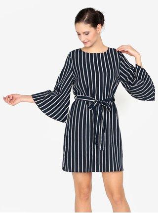 Tmavomodré pruhované šaty AX Paris