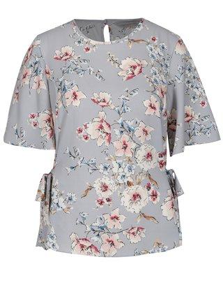 Bluza gri cu print floral si maneci fluture - Dorothy Perkins Petite