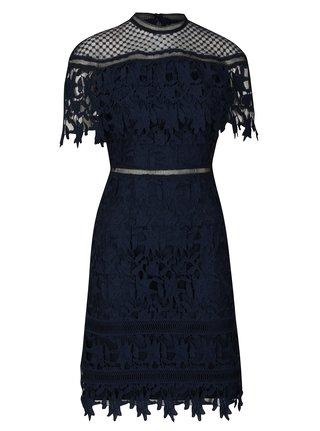 Tmavomodré čipkované šaty Chi Chi London Sassi