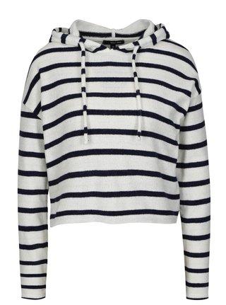 Bílo-modrý pruhovaný crop svetr s kapucí TALLY WEiJL