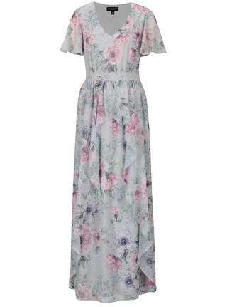 Rochie maxi cu print floral si broderie in talie Dorothy Perkins