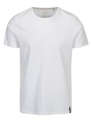 Biele pánske regular fit tričko s okrúhlym výstrihom s.Oliver