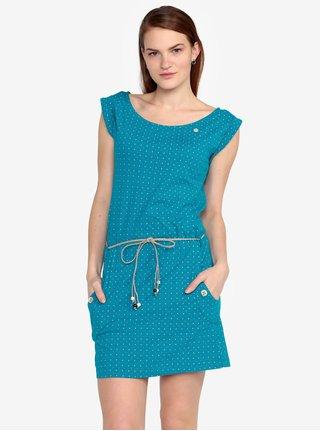 Tyrkysové puntíkované šaty s páskem Ragwear Tag Dots