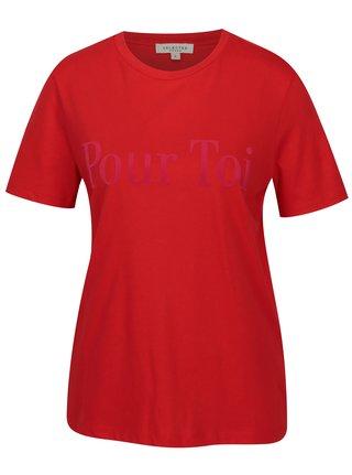Tricou rosu cu aplicatie catifelata Selected Femme Toi