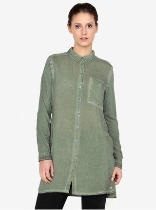 Kaki dámska dlhá košeľa s náprsným vreckom QS by s.Oliver