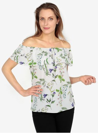 Bluza crem cu decolteu amplu si print floral - M&Co
