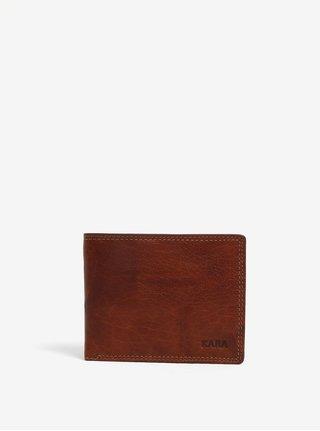 Hnedá pánska kožená peňaženka s gravírovaným logom KARA
