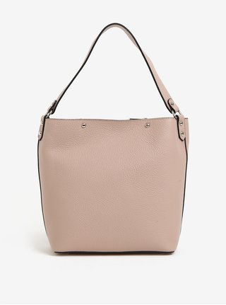 Geanta pentru shopping de dama roz deschis din piele cu portofel 2in1 KARA