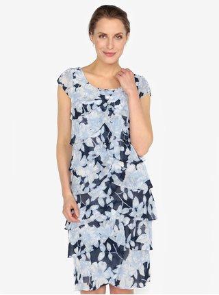 Rochie albastra cu volane suprapuse si print floral M&Co