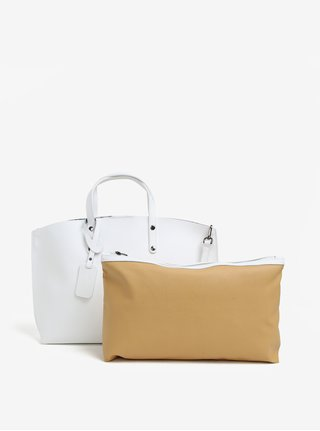 Set de geanta shopper alba cu plic detasabil din piele naturala KARA