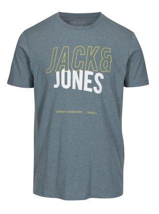 Sivomodré slim fit tričko s potlačou Jack & Jones Booster