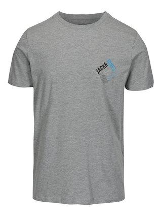 Svetlosivé melírované slim fit tričko s potlačou Jack & Jones Booster