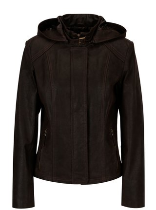 Tmavohnedá dámska kožená bunda kapucňou KARA Dominika B