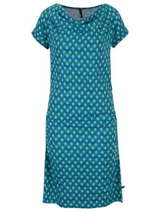 Tyrkysové vzorované šaty s nazberkaním v dekolte Tranquillo Petraea