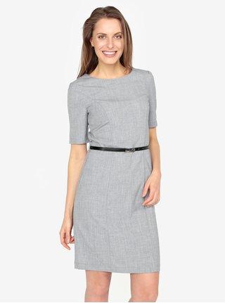Šedé žíhané šaty s páskem VERO MODA Olivia