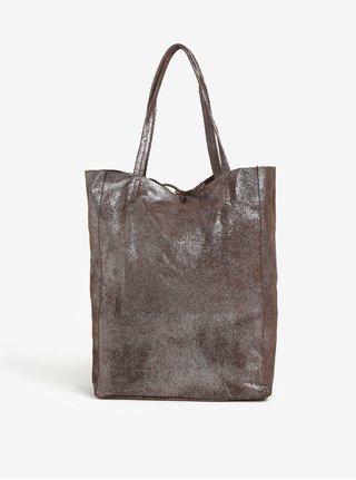 Tmavě hnědý třpytivý kožený shopper ZOOT Glitter