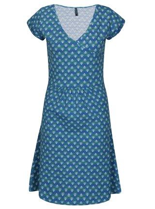 Tyrkysové vzorované šaty s véčkovým výstrihom Tranquillo Malva f49a0f96aed