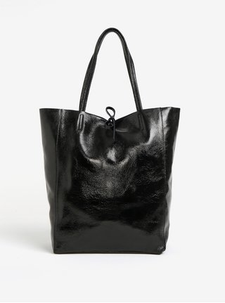Čierny lesklý kožený shopper ZOOT Laminato