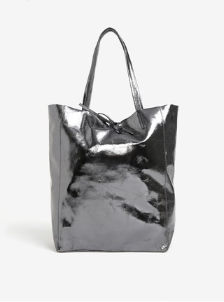 Tmavě šedý metalický kožený shopper ZOOT Laminato