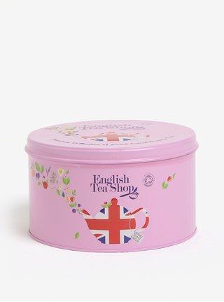 Růžová dárková plechovka klasického čaje English Tea Shop Union Jack