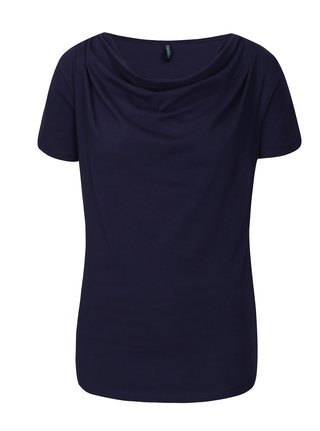 Tmavě modré tričko s řasením v dekoltu Tranquillo Vitisa