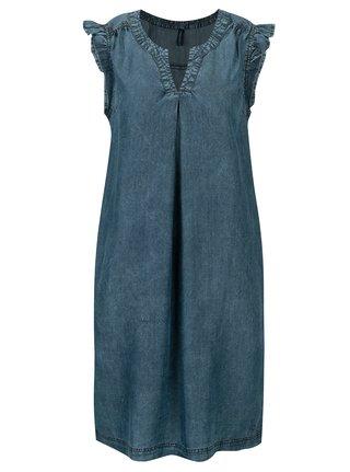 Rochie din denim albastra cu volane Tranquillo Salvia