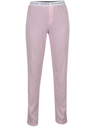 Ružové dámske pruhované pyžamové nohavice Lauren Ralph Lauren