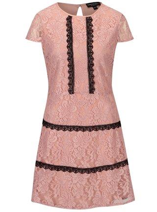 Svetloružové čipkované šaty Dorothy Perkins