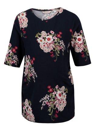 Tmavomodré kvetované tehotenské tričko Dorothy Perkins Maternity