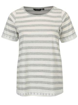 Krémovo-sivé pruhované tričko Doorthy Perkins Curve