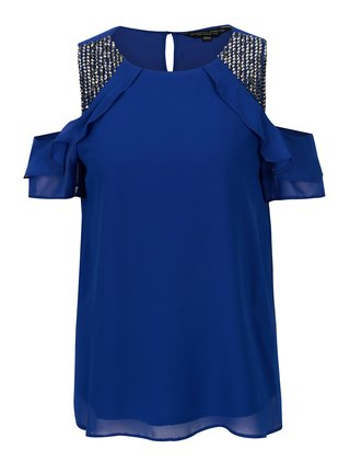 Bluza cold shoulder albastra cu pietre decorative Dorothy Perkins
