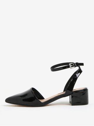 Čierne lesklé sandálky na nízkom podpätku Dorothy Perkins