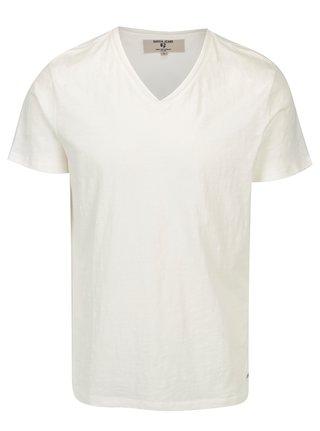 Krémové pánske tričko s véčkovým výstrihom Garcia Jeans Marco