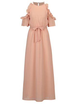 Rochie cold shoulder roz deschis cu volane si cordon in talie - Mela London