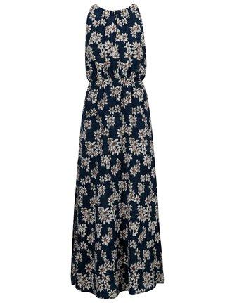 Tmavomodré kvetované maxišaty s rozparkami Mela London